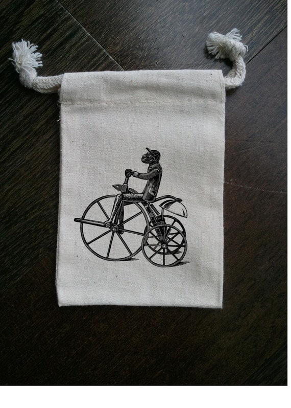 Monkey on Bicycle Carnival Circus Muslin Party Favor Bag