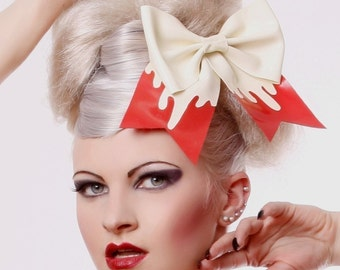 Big Latex Rubber Hair Bow with Red and White drip detail