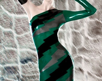 Latex Rubber Transparent Lightening bolts dress