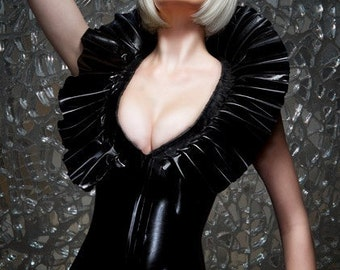 Black Latex  Standing Collar Body suit