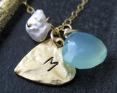 Custom initial heart necklace, love necklace, personalized hand stamped heart initial & birthstone jewelry