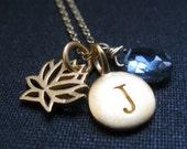 lotus initial necklace, personalized lotus charm necklace, birthstone, yoga jewelry, personalized lotus necklace,  zen