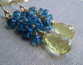 Summer Rain-Lemon quartz, Electric Apetite earrings, Gemstone dangle, wire wrapped, gold filled jewelry, bridesmaid gifts