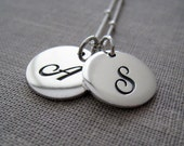 Classic initial necklace, double initial necklace, 13mm size, sturdy sterling silver charm, satellite dewdrop chain