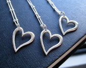 Silver heart necklace, bridesmaid jewelry, set of 3 open heart sterling silver necklace, wedding party gifts