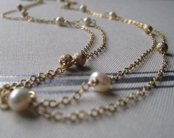 Long pearl stardust necklace, freshwater pearls layered necklace, champagne gold bridesmaid jewelry