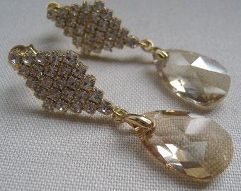 Bridal Champagne earrings, Golden shadow Swarovski crystal, bridesmaid peach rhinestone bridesmaid jewelry