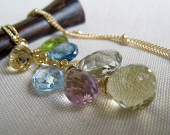 Splash Necklace, london blue topaz, swiss blue topaz, amethyst, peridot, pastel hues, multi gemstone necklace, wedding party gifts