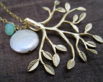 TREE of LIFE Necklace, large Tree Pendant Necklace, grandmother, gift for mom, mother necklace, pearl, gemstone, family, grandma, aunt