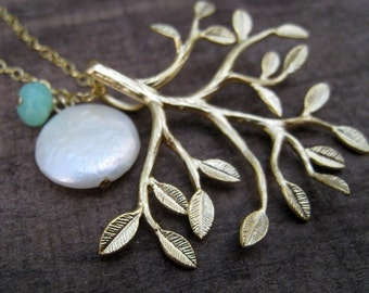 Bridesmaid jewelry set of 4, Tree of life Necklace, white coin pearl & birthstone, Bridesmaid gift, bridal party, wedding day accessories
