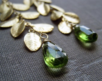 Gold  leaf cascade earrings, Peridot earrings, customize gemstone bridesmaid jewelry earrings, weddings
