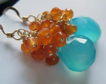 Aqua orange Earrings, burnt orange & blue, carnelian gemstone earrings, bridesmaid gift Autumm weddings