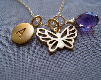 Butterfly initial neckce, Personalized jewelry, initial birthstone necklace, butterfly charm, personalized bridesmaid gifts