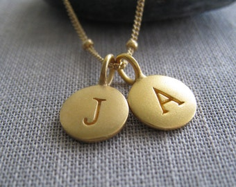 Dainty Gold initial necklace, couples jewelry, bff, initial jewelry, monogram necklace, personalized jewelry,