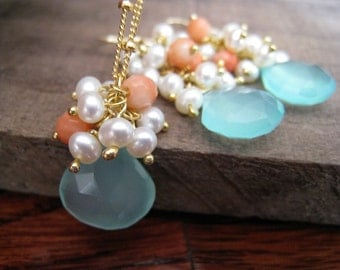 Bridesmaid Aqua jewelry sets, blue chalcedony, pearl and coral earrings & necklace, aqua necklace, matching bridal party jewelry, weddings