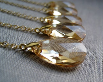 Swarovski crystal necklace, set of 4 bridesmaid jewelry, champagne gold, solitaire, bridal party gift, wedding day, golden shadow