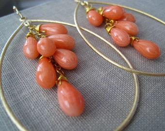 Coral Hoop Earrings, gold hoop earrings, spring weddings, pink corals, bridesmaid jewelry, bridesmaid earrings, wire wrapped