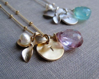 Personalized orchid necklace, bridesmaid gift, initial necklace with birthstone and pearl, flower charm, bridesmaid jewelry
