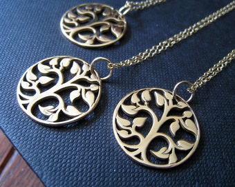 Set of 4 tree of life necklace, Bridesmaid jewelry, tree of life pendant, gift for bridesmaid, weddings, mother of the bride