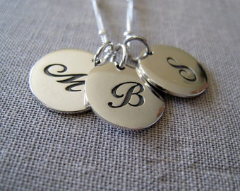 Monogram necklace, personalized jewelry, three childrens initial, sturdy sterling silver disc, satellite chain, script font