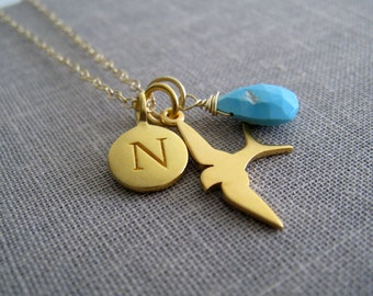 Bird initial necklace, personalized jewelry, sparrow charm, birthstone necklace, jewelry gift for her, freedom