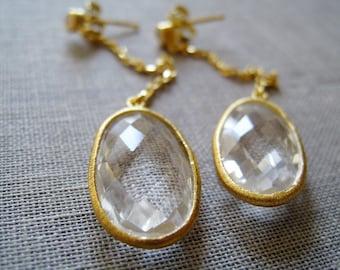 SALE Rock Crystal quartz earrings, long linear earrings, bezel drop,  chic wedding jewelry