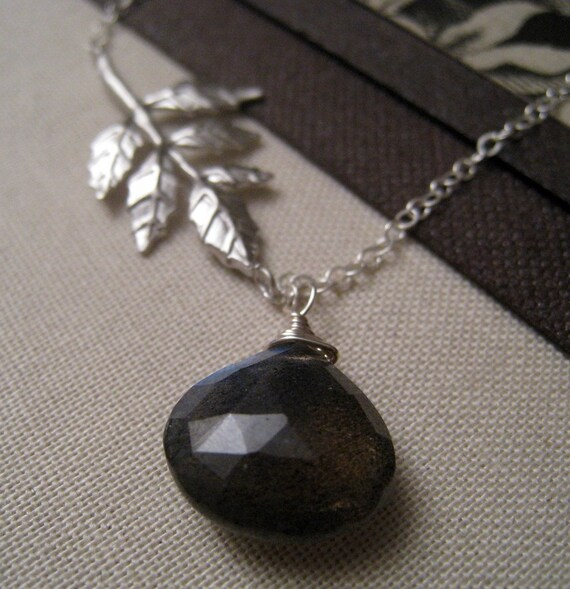 SALE-Antique Leaf Necklace with Labradorite-sterling silver