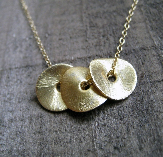 Three gold Petal Necklace, also in silver, eternity, infinity circles, gold disc, metallic jewelry, simple and delicate