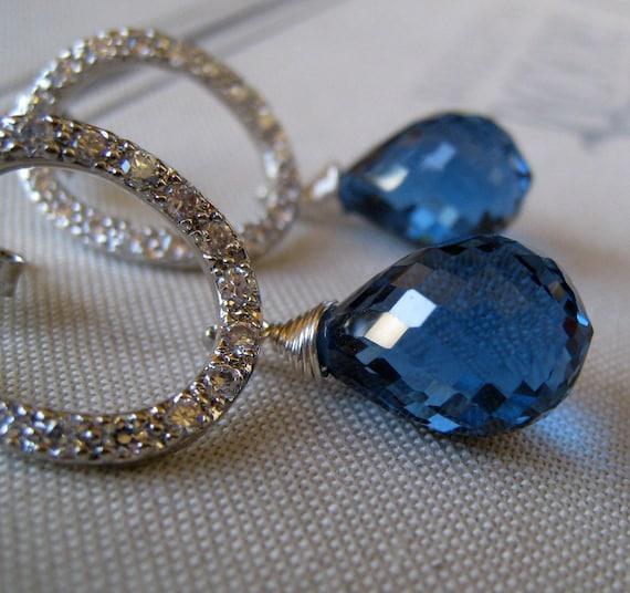 London blue topaz with rhinestone circle post earrings, Royal weddings, Stunning Bridal jewelry, luxury earrings