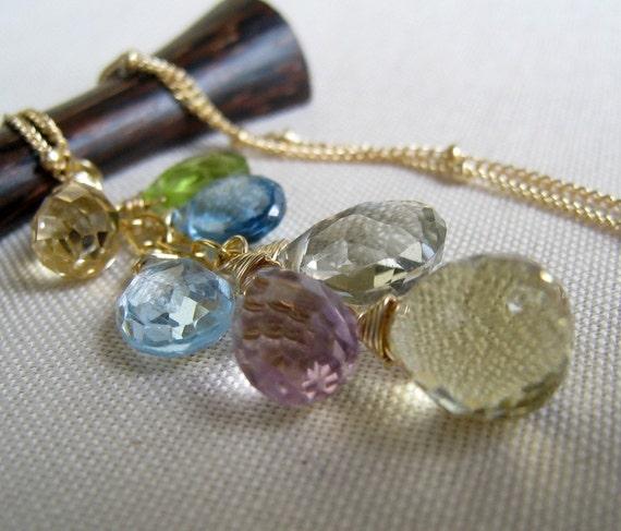 Splash Necklace, london blue topaz, swiss blue topaz, amethyst, peridot, pastel hues, multi gemstone necklace, wedding party gifts