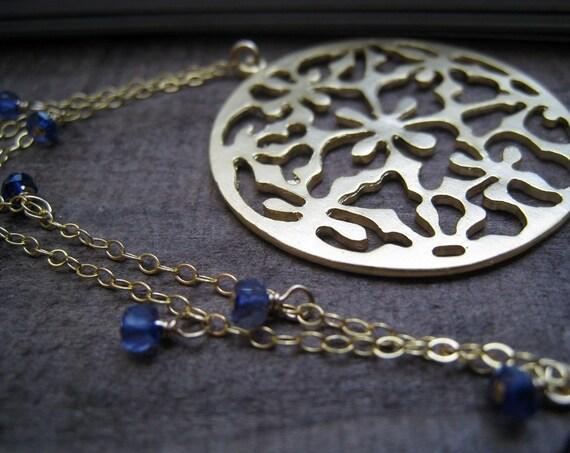 Baroque pendant Necklace, iolite, custom color gemstone, bridesmaid gifts, bridal party necklace