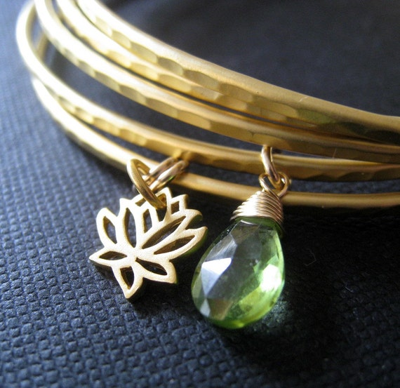Gold Lotus bangles, set of 4 lotus  bangle bracelets,  Lotus bracelet and gemstone charm, stackable metal bangle, yoga jewelry