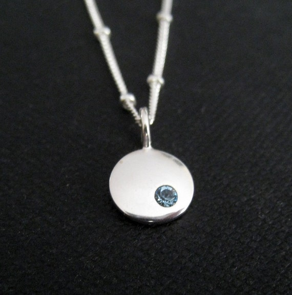 Birthstone necklace, new mom jewelry, sterling silver birthstone disk with satellite chain, birthday gift, mother