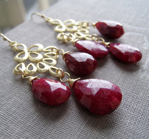 Ruby chandelier Earrings-bridesmaid earrings, ruby red bridal jewelry, Autumn weddings, cranberry red, maroon, gold peacock