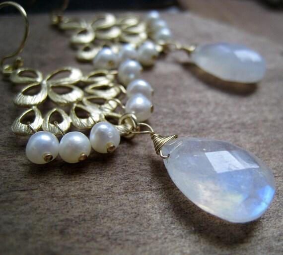 Bridal Chandelier Earrings, Rainbow moonstones, white fresh water pearls, gold bridesmaid jewelry gifts