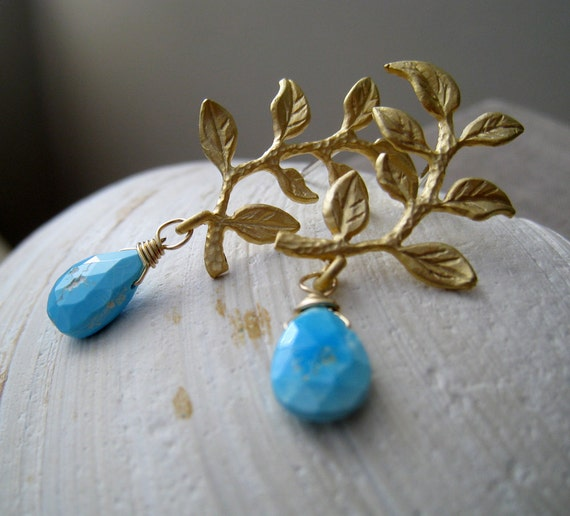 Gold leaf and Turquoise earrings, Gold Vine Earrings, Arizona turquoise, nature jewelry, bridesmaid earrings