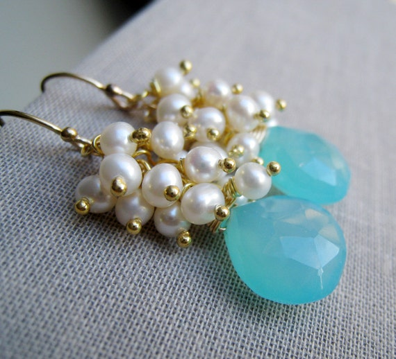 Aqua pearl earrings, aqua earrings, bridesmaid earrings, bridal earrings, wire wrapped gemstone and pearl, dangle, wedding jewelry
