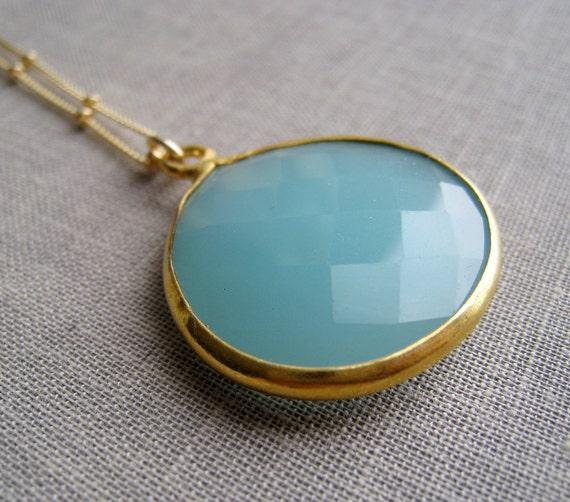 Aqua blue chalcedony bezel pendant necklace, Azure gold bezel gemstone, something blue necklace, bridesmaid necklace,  weddings