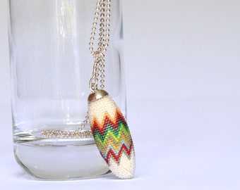 zigzag beaded pendant  chevron glassbeads and Silver 925 length: inch1,77 / 4,5cm