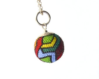 "big beaded sphere pendant abstract art to wear glass beads and silver diameter:inch 0,87"" / 2,2 cm"