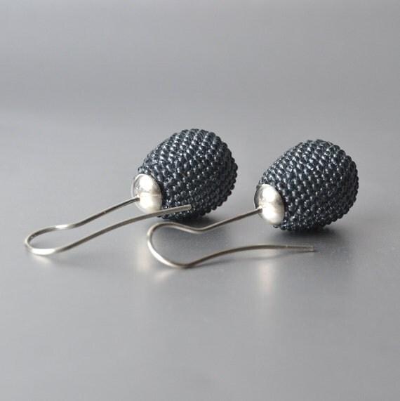gray ear drops Silver bead crochet