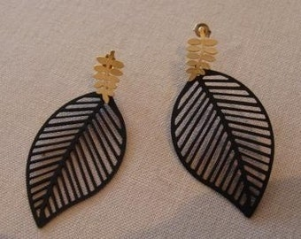 Black Leaf Earrings Gold Plated Posts