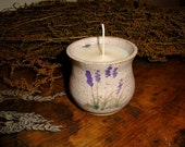LAVENDER cottage Soy Candle Pot- made with pure Soy wax in hand thrown pottery and hand painted Lavender design