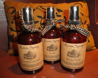 Primitive Handmade ROOM SPRAYS in four ounce spray bottles-choose your scent- Perfect for bridal or baby showers