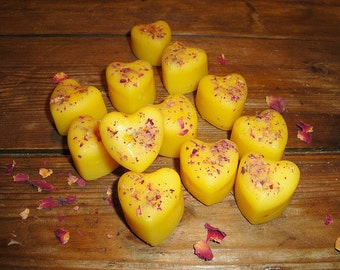 Miniature one inch HEARTS made from certified organic beeswax with red Rose Petals- Scented your choice to melt or display