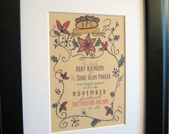 Floral Wedding--Custom Personalized Print--DIGITAL FILE