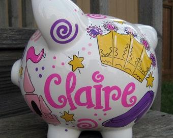 Princess Piggy Bank- Large PIggy Bank, Bright and Girlie Princess, Personalized Piggy Bank, Baby Shower Gift, Princess Bank, Baby Girl