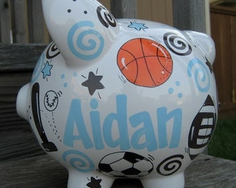 Large Sports Bank- Personalized Baby Blue and Chocolate Brown