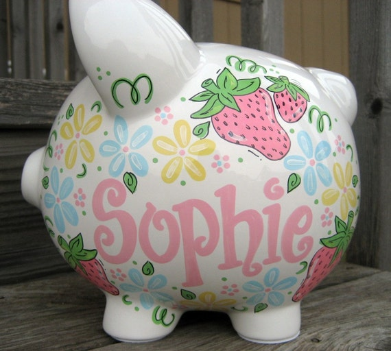 Sweet Strawberries and Flowers Large Personalized Piggy Bank