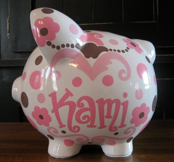 Scrolls and Polka Dots, Pink and Brown Large Personalized Piggy Bank